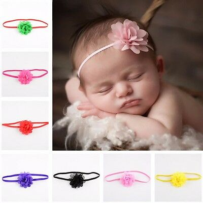10Pcs Newborn Baby Kids Girls Toddler Flower Chiffon Hair band Headband Headwear