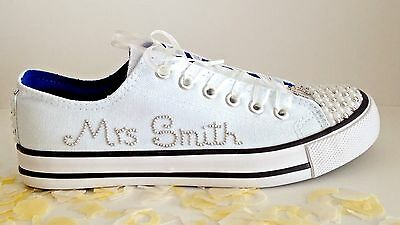 Wedding Bridal Trainers Shoes. Personalised, Faux Pearls. UK Sizes 3-8