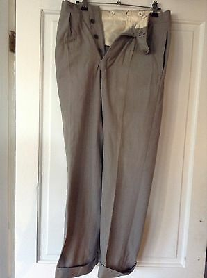 Vintage 50's High Waist Turn Up Button Front Pale Grey Trousers 26 W 28 L