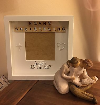 Personalised Handmade Christening Day Gift Photo Box Frame With Scrabble Letters