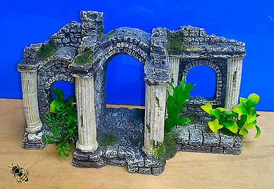 Aquarium Ornament Roman Ruin Columns Plants Ancient Fish Tank Decoration New