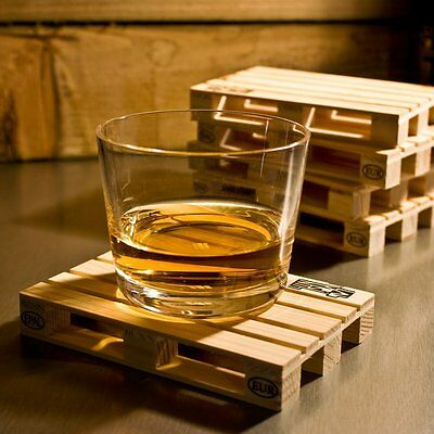 Mini Wooden Pallet Drink Coasters - Set of 4 - mat coffee holder