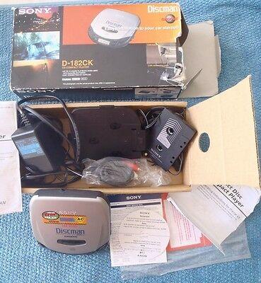 Rare Sony Discman D-182Ck Cd Player Car Kit Boxed Complete Manual + Extras