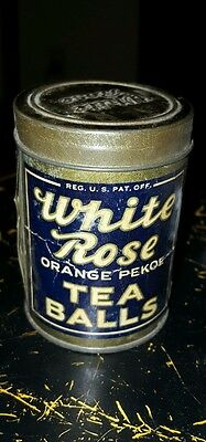 "Vintage WHITE ROSE Tea Balls Sample Tin Can Store Advertising  3.5"" tall x 2 "" w"