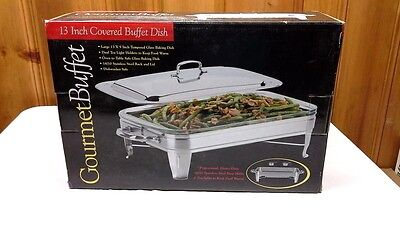 Gourmet Buffet 13 Inch Covered Buffet Dish Stainless Steel Chafing Dish