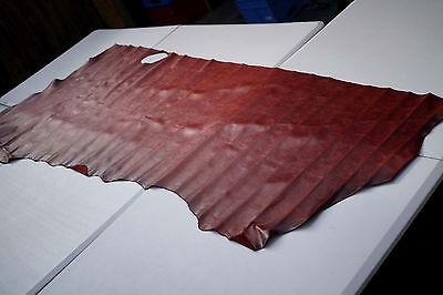 Two tone Red Aniline Pull up Cowhide Side 205 x 80cm Pull up Cow leather