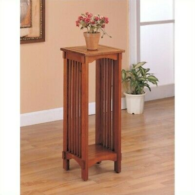 Coaster Traditional Mission Style Plant Stand in Solid Oak