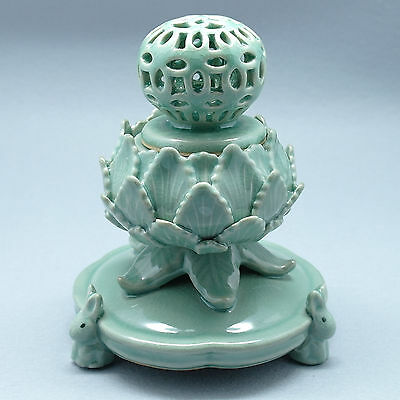 Celadon openwork incense burner wrapped by several leaves Korean celadon
