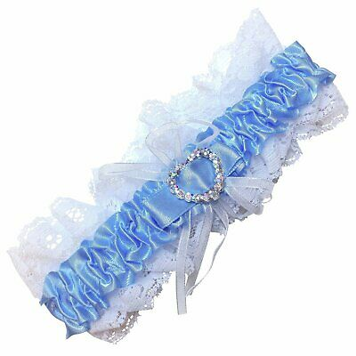 Blue and white bridal garter with crystal heart