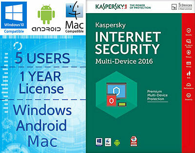 Kaspersky Internet Security 5 Users / Pc 1-Year 2016  Download Licence Key