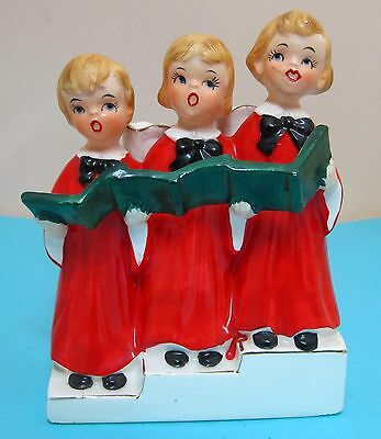 """Vintage Vcagco Christmas 3 Blond Choir Girl Red Gowns Candle Holder 5 3/4"""" T43"""
