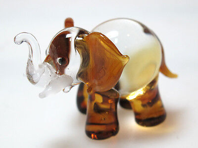 Wildlife MINIATURE HAND BLOWN GLASS Elephant FIGURINE Murano Style Collection