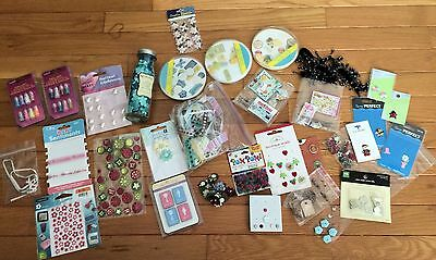 LOT of Scrapbooking Supplies game Stickers Ribbon flat buttons flowers Brads