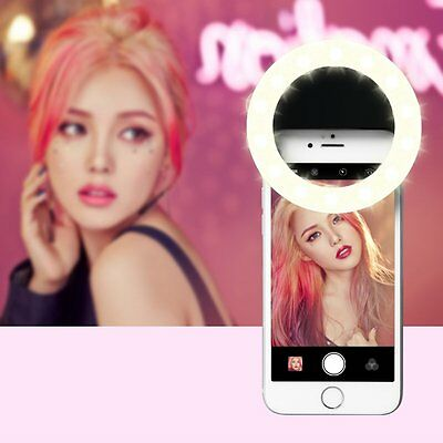 USB Rechargeable Selfie Portable LED Ring Fill Light Camera for iPhone 7 Samsung
