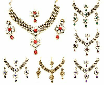 Kundan Stones Necklace Earrings Tikka Set Bridal Wedding Bollywood Jewellery (F)