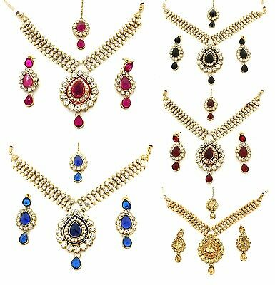 Kundan Stones Necklace Earrings Tikka Set Bridal Wedding Bollywood Jewellery (B)