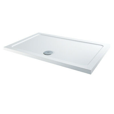 MX 1000mm x 800mm Shower Tray Rectangular Low Profile Stone Resin & Chrome Waste