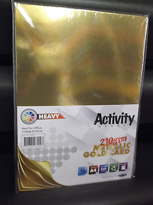 25 sheets of  A4 Metallic Gold Single Sided Mirror Card 210gsm