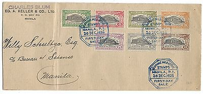 PHILIPPINES 1926 Palace of Legislature set of 7 on first day cover FDC SG#384-90