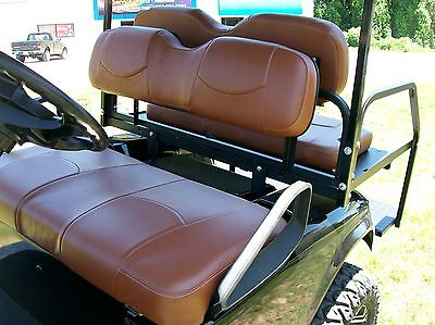 EZGO TXT Golf Cart Deluxe™ Seat Covers-Frnt & Rr-Staple(Saddle Brwn)