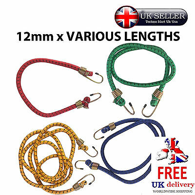 "12mm 1/2"" Bungee Rope Cord Octopus Hooks Luggage Elastic Tension Straps Car Bike"
