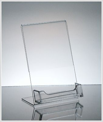 """5 Acrylic 4"""" x 6"""" Slanted Picture Frame with Attached Business Card Holder"""