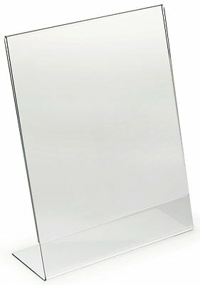 """5 Acrylic 8.5"""" x 11"""" Slanted Picture Frame Holders"""
