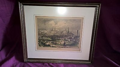 Antique Print from Engraving, Framed. Of mid 1800's Birmingham