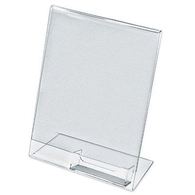 5 Acrylic 8-1/2x11 Slanted Sign Holders with Attached Business Card Holder