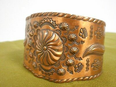 Vintage Solid Copper Cuff Bracelet Bell Trading Co Signed Thunderbird Southwest