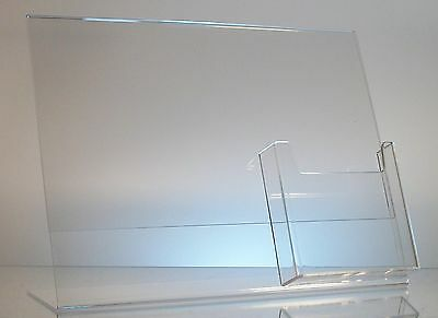 "5 Acrylic 11"" x 8-1/2"" Slanted Sign Holders with 4x9 Tri-Fold Brochure Holder"