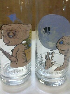 """Vintage 1982 E.T. Pizza Hut Collector Glasses """"Phone home"""" and Be good"""""""