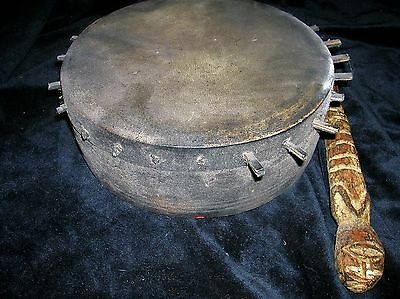 """orig $399- RITUAL NEPAL SHAMAN DRUM, W/BEATER REAL EARLY 1900S 10"""""""