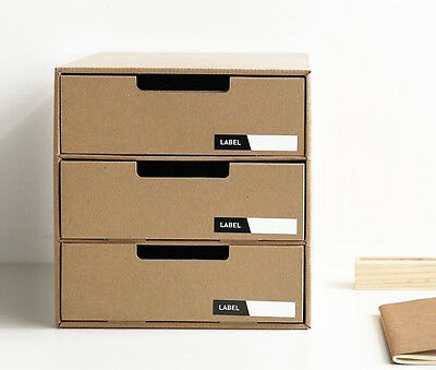 Home Office A4 Filing Cabinet 3 Drawer Storage Desktop Tidy Organiser MUJI Style