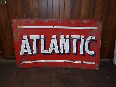 "Large 42"" x 72"" Vintage Metal Double Sided Atlantic Oil Gas Sign - C"