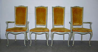 Set 4 Vintage French Provincial Custom High Back Painted Dining Side Arm Chairs