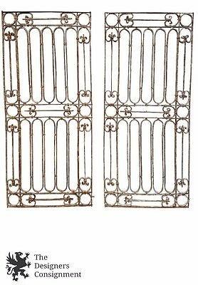 """2 Antique Forged Iron 81"""" Window Guard Grate Covers Bar Architectural Gothic"""