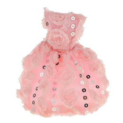 Pink Sequins Blingbling Dress Clothes Outfit for Barbie Dolls Party Dressing