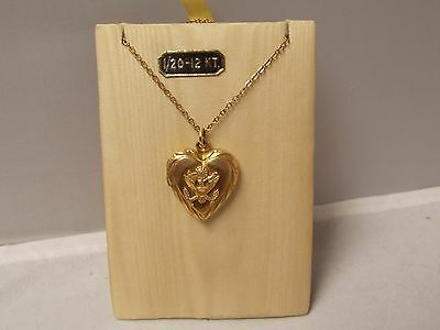 "Vintage Sweetheart Jewelry Heart Locket- GF1/20 12Kt & 17"" Chain Army Insignia"