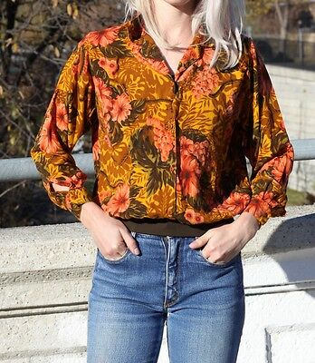 Vintage Floral Button Up Top Long Sleeve Retro Shirt Printed Blouse S