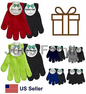2 pairs Kids Children Solid Plain multi-colors knit warm winter Magic Gloves