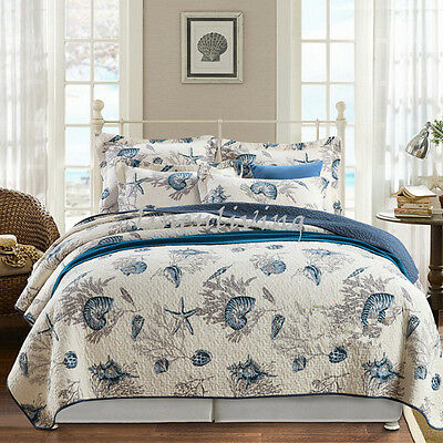Reversible Quilted Cotton Patchwork Coverlet Bedspread 3pc Set Queen King SA