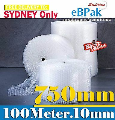 Bubble Cushioning Wrap Roll 750mm x 100M  10mm Bubbles  -Sydney Delivery Only
