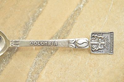 10.4g Cartagena Colombia Coffee Bean Detail Crest Silver Souvenir Spoon