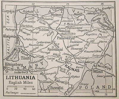 vintage 1930s mini map of Lithuania Lietuva