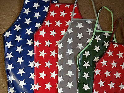 pvc vinyl waterproof apron 5 sizes adult an childs stars in blue  red green grey