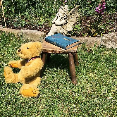 Small Vintage Antique Wooden Oak Milking Or Foot Stool