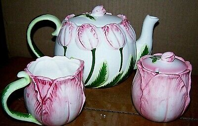 Spring Tulip Pottery Tea Set Teapot Sugar Bowl Creamer & Lids 1987 Hand-Painted