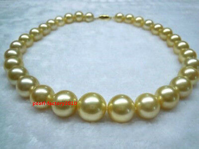 "AAAAA 18""11-12mm real NATURAL round south sea yellow GOLDEN pearl necklace 14K"