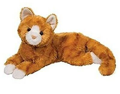 15 Inch Lying Marmalade Orange Tabby Cat Plush Stuffed Animal By